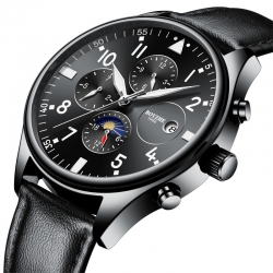 Elegant moon phase sport luxury genuine leather strap automatic mechanical man watches