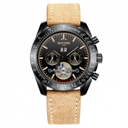 New design Luminous sale by bulk of Automatic Men Waterproof Watch Mechanical Wrist Leather Watch