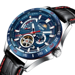 Silver Case Blue Circle 30M Waterproof Tourbillon Automatic Mechanical Watch relojes de mano para hombre