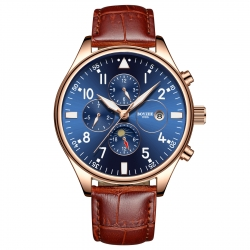 Fashion brand automatic tourbillon skeleton watch leather moon phase mechanical movement watch