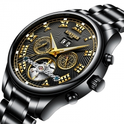 Business stainless steel back water resistant mechanical automatic watch