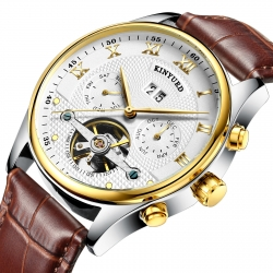 Good quality leather strap man multifunction automatic movement mechanical watch