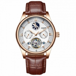 Genuine leather luminous skeleton watch tourbillon automatic mechanical Wrist Watches