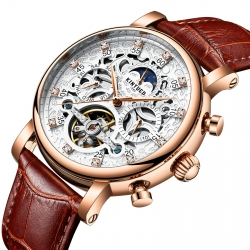 Luxury Watch Mechanical Moon Phase Calendar High Quality Automatic Tourbillon Mechanical Man Watch