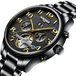 Stainless steel automatic mechanical watch for men skeleton water resistant watch