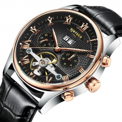 Hot sale waterproof fashion leather strap men automatic mechanical watch