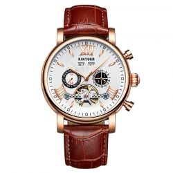 High quality water resistant automatic movement genuine leather business watch