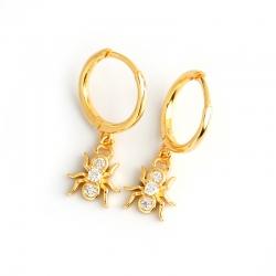 Golden spider s925 sterling silver earrings