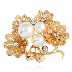 European and American fashion clothing creative goddess multi-layer daisy brooch flower pearl brooch