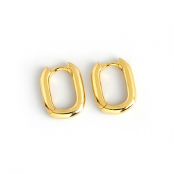 Vintage Geometric Oval Ring Circle S925 Sterling Silver Earrings Gold Plated Silver Earrings