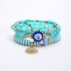 European and American trendy jewelry Bohemian multilayer metal shell Devils eye accessories temperament personality bracelet