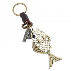 Goldfish Car Pendant Retro Leather Keychain