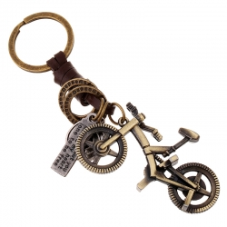 Creative keychain men and women small gift alloy bicycle retro woven cowhide keychain leather pendant