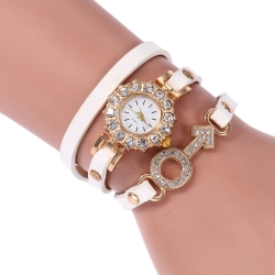 Rhinestone decoration long band old fashion female bracelet quartz watches