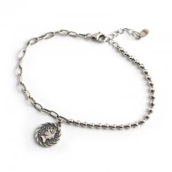 Retro distressed portrait avatar round tag s925 sterling silver round bead bracelet bracelet ornament female