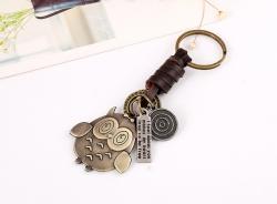 Vintage Woven Leather Keychain Bronze Owl Pendant Wild Bag Pendant