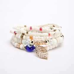 New Jewelry Bohemian Ethnic Bracelet Handmade Multilayer Leaf Big Eye Pendant Bracelet Wholesale