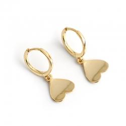 Golden love heart s925 sterling silver earrings