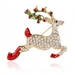 Cute animal deer diamond brooch Christmas sika deer boys corsage dual-use silk scarf buckle