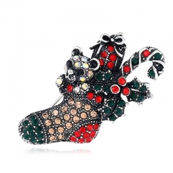 Christmas brooch, new high-end European and American retro diamond brooch, socks brooch, foreign trade jewelry brooch