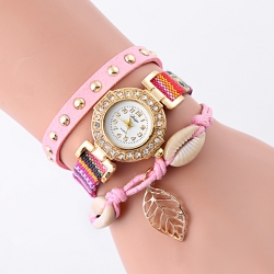 New design leaf decoration female adjustable length of strap quartz watches with rhinestones