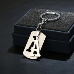 26 English Alphabet Keychain Creative Gift Jewelry Simple Stainless Steel Keychain