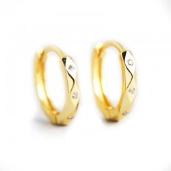 Gold earrings S925 sterling silver INS wind geometry diamond face punk wind ear buckle earrings jewelry