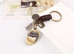 Tongue Retro Woven Leather Keychain Key Pendant