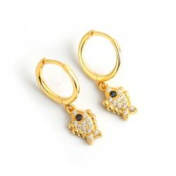 New gold diamond fish earrings