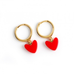 Christmas New Year small red heart earrings European and American light luxury gold red love s925 sterling silver earrings earrings accessories