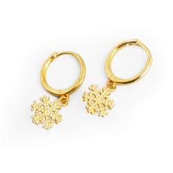 Snowflake golden S925 sterling silver earrings earrings ear ring