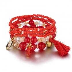 European and American cross-border jewelry Bohemian style tassel multi-layer bracelet foreign trade new fashion elastic rope beaded bracelet