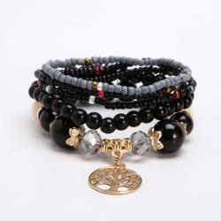 Cross-border direct supply accessories European and American metal tree of life pendant rice beads multi-layer temperament bracelet