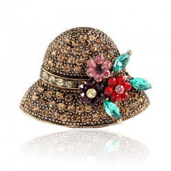 Creative cute full diamond hat brooch