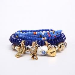 Cross-border e-commerce hot sale fashion sweet small fresh multi-layer beaded bracelet metal pendant wholesale foreign trade