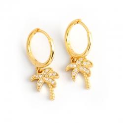 European and American earrings golden coconut tree s925 sterling silver earrings earrings female accessories earrings