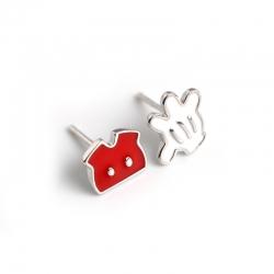 Cartoon small fresh enamel glue dripping oil s925 sterling silver earrings earrings small jewelry female