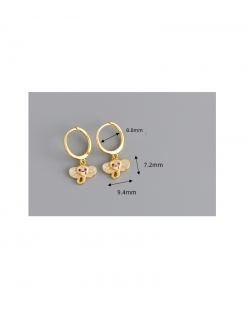 Golden elephant s925 sterling silver earrings ear buckle earrings female