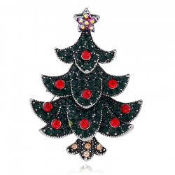 European and American retro diamond-studded Christmas tree brooch foreign trade retro exquisite jewelry Christmas