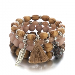 European and American popular creative leaf bracelet retro wooden beads acrylic beaded multi-layer elastic bracelet cross-border