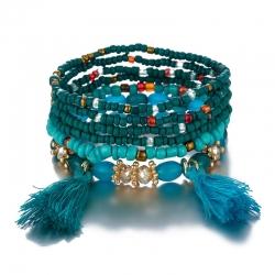 Cross-border hot sale jewelry Bohemian multi-layer multi-strand rice bead woven bracelet creative bracelet European and American jewelry wholesale