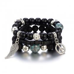 European and American jewelry Bohemian multi-layer elastic rope handmade beaded bracelet natural glass beads four-piece bracelet