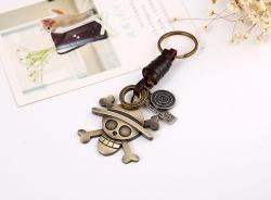 Skull leather keychain