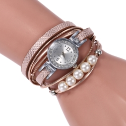 Creative old fashion snake skin pattern long band pearl decoration female quartz watches