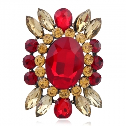 Glass diamond alloy brooch