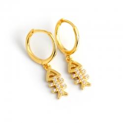 Light luxury gold diamond fish bone s925 sterling silver earrings