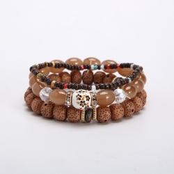 European and American cross-border ethnic style Bohemian multi-layer elastic combination rice bead beaded bracelet
