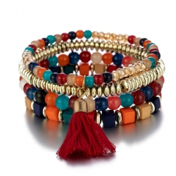 New womens bracelets European and American fashion trend three-dimensional square jewelry multilayer elastic bracelet wholesale factory direct sales