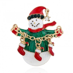 European and American fashion clothing creative socks pin golden Christmas snowman brooch