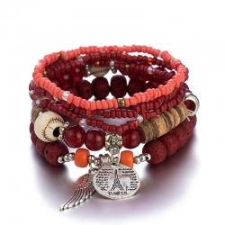 Bracelet color bohemian ethnic style female multi-layer stretch rice bead bracelet European and American jewelry